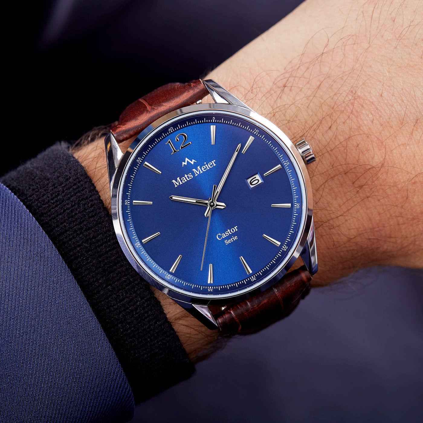 Mats Meier Castor Blauw/Bruin horloge MM01001