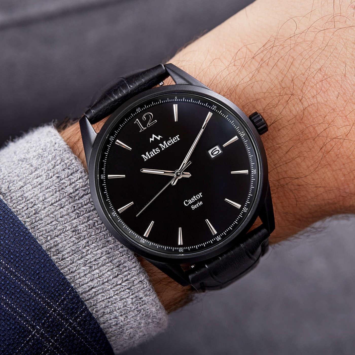 Mats Meier Castor Mat Zwart horloge MM01002