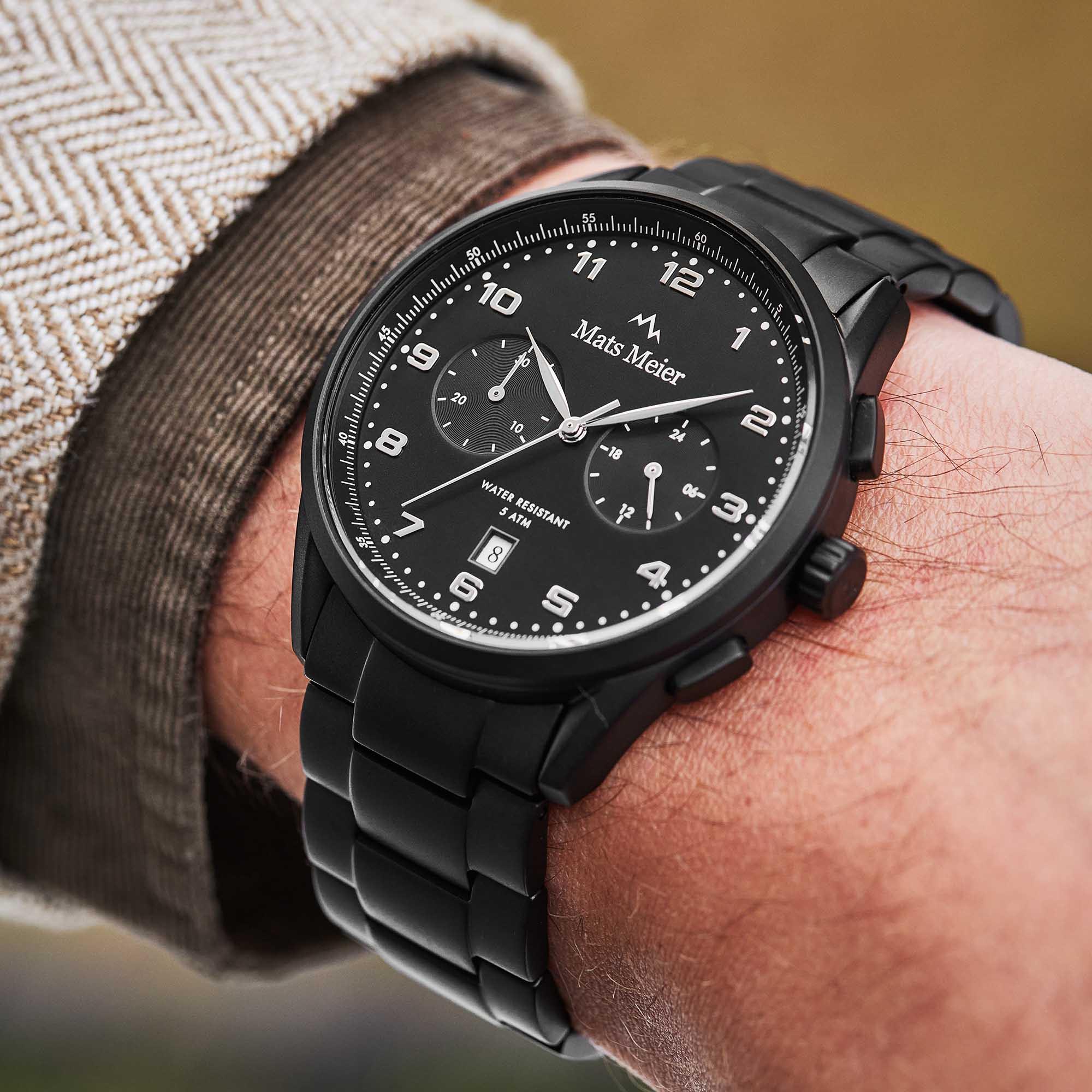 Mats Meier Mont Vélan Chrono Zilver/Zwart horloge MM10006