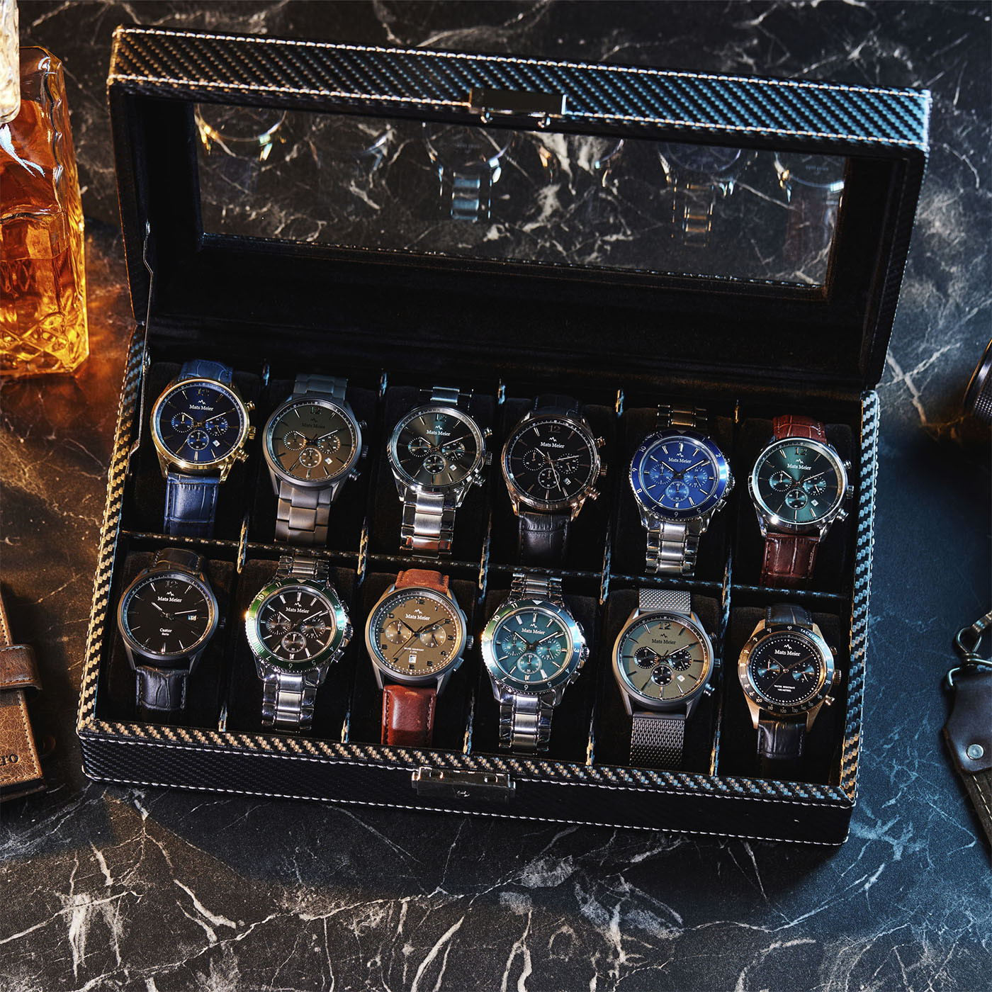 Mats Meier Mont Fort zwarte horlogebox voor 12 horloges