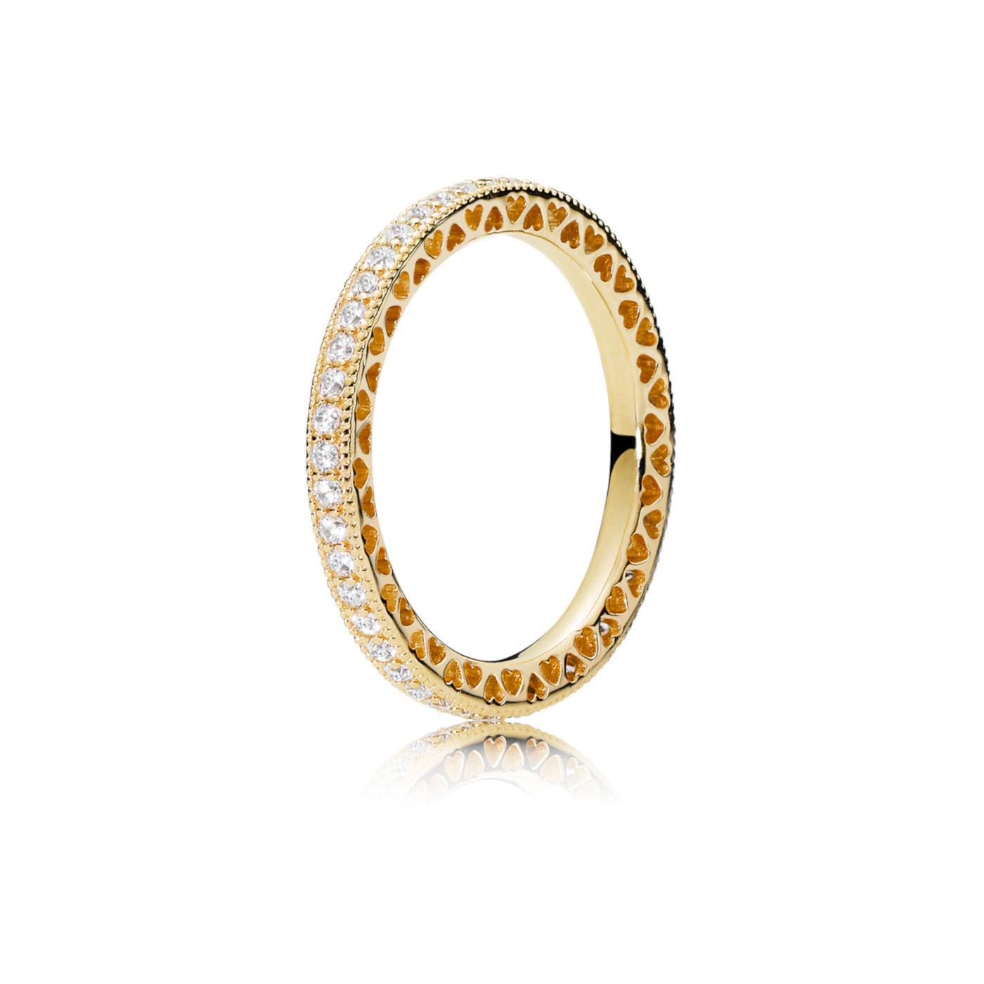 Pandora Stories 925 Sterling Zilveren Goudkleurige Hearts Ring 167076CZ