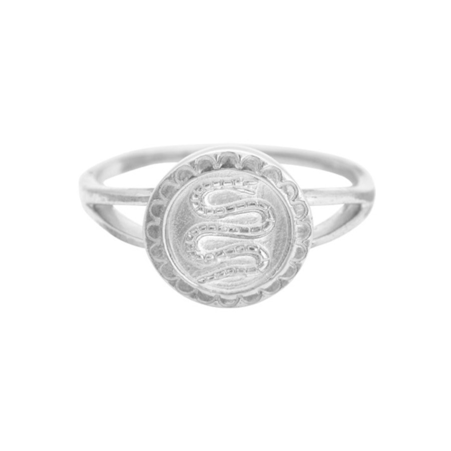 ANNA + NINA 925 Sterling Zilveren Fou d'Amour Serpent Coin Ring 19-1M908001