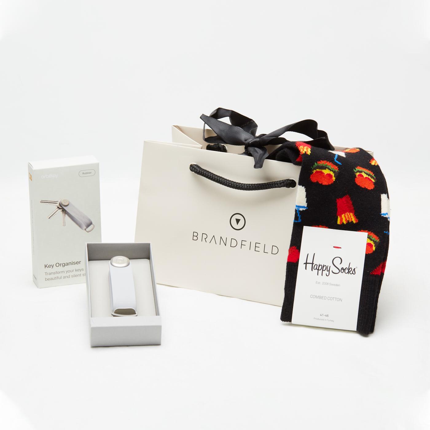 Orbitkey 2.0 Light Grey Sleutelhouder & Happy Socks (Size: 41-46) Set OB-HS-SET-LG