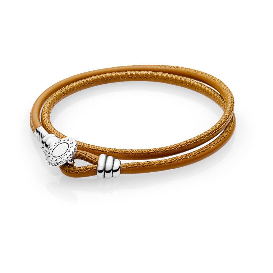 Pandora Moments  Double Leather Armband 597194CGT (Lengte: 35.00-41.00 cm)