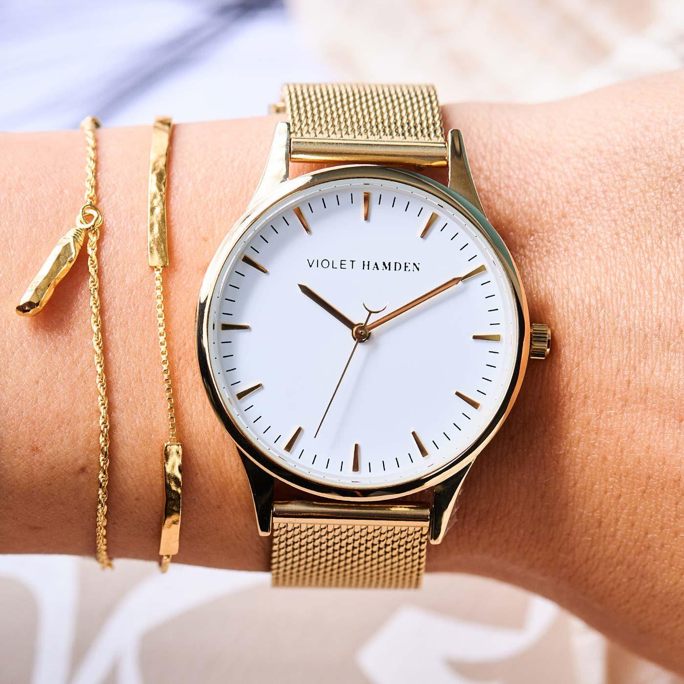 Violet Hamden Nowness Gold Colored/White horloge VH05027
