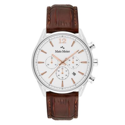Mats Meier Grand Cornier Chrono Wit/Bruin horloge MM00105
