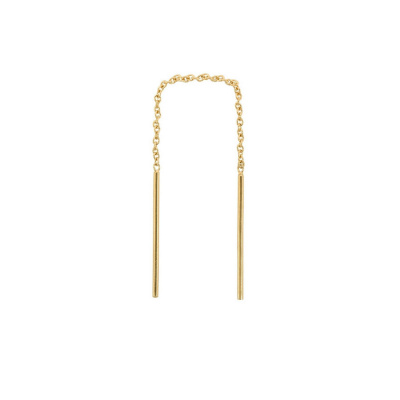ANNA + NINA 14 Karaat Gouden Solid Gold Single Two Bar Chain Oorbel 18-2M902039G