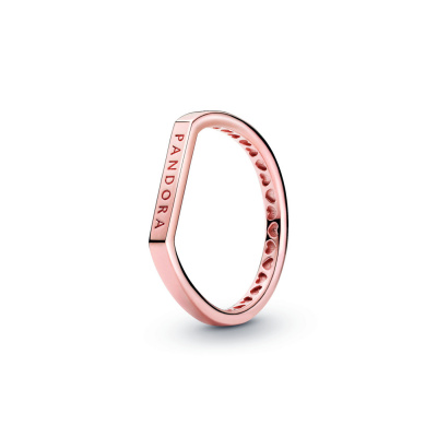 Pandora Signature 925 Sterling Zilveren Roségoudkleurige Logo Thin Bar Ring 189048C00
