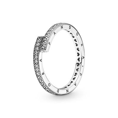 Pandora Signature 925 Sterling Zilveren Sparkling Overlapping Stackable Ring 199491C01