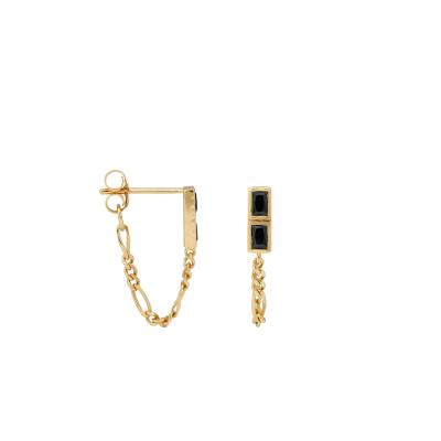 ANNA + NINA 925 Sterling Zilveren Goudkleurige Single Darkness Chain Oorknoppen 21-2M901003GP