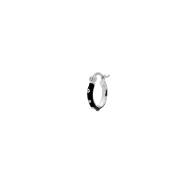ANNA + NINA 925 Sterling Zilveren Single Dolly Ring Oorbellen Black 21-2M902001S
