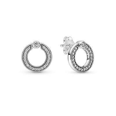 Pandora Signature 925 Sterling Zilveren Pavé & Logo Circle Reversible Oorknoppen 299486C01