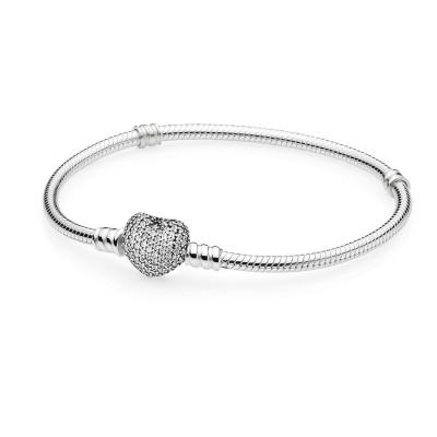 Pandora Zilveren Pave Heart Armband 590727CZ