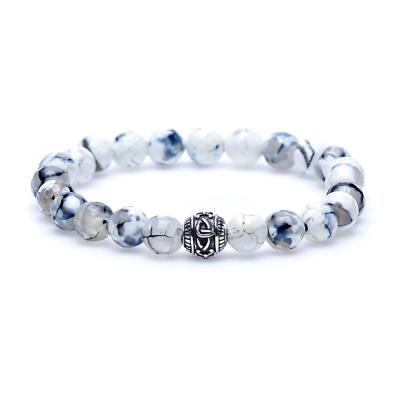 Karma Black & White Silver Round Logo Bead Armband 86266