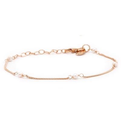 Karma 925 Sterling Zilver Roségoudkleurige Tiny Pearls Armband 94126RP (Lengte: 16.50 - 19.00 cm)