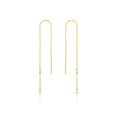 Ania Haie 925 Sterling Zilveren Goudkleurige Glow Getter Threader Oorbellen AH-E018-02G