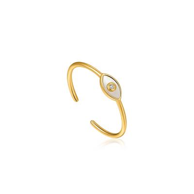 Ania Haie Wild Soul 925 Sterling Zilver Goudkleurige Evil Eye Ring AH-R030-01G
