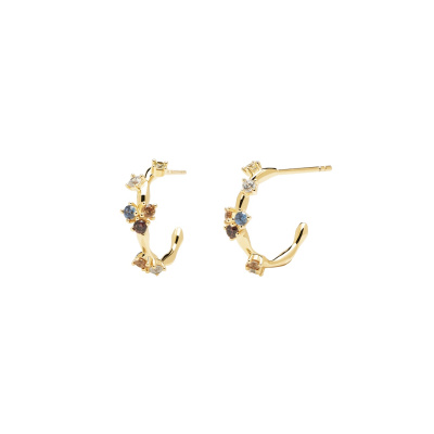 P D Paola 925 Sterling Zilver Goudkleurige Five Oorknoppen AR01-289-U