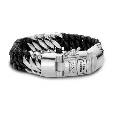 Buddha to Buddha 815 Ben Mix Silver/Leather Black Armband