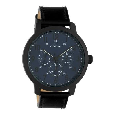 OOZOO Timepieces Zwart/Blauw horloge C10509