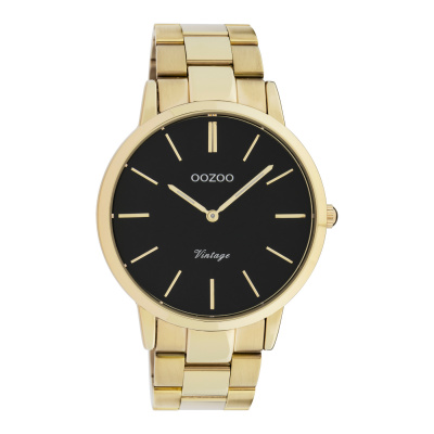 OOZOO Vintage Goudkleurig/Zwart horloge C20023