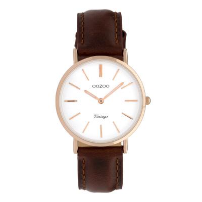 OOZOO Vintage Bruin/Wit horloge C9837 (32 mm)
