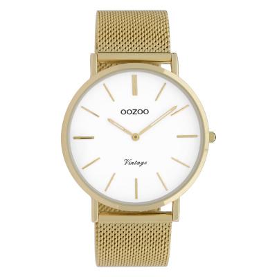 OOZOO Vintage Goudkleurig/Wit horloge C9909 (40 mm)
