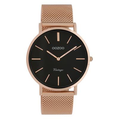 OOZOO Vintage Rosegoudkleurig/Zwart horloge C9925 (40 mm)