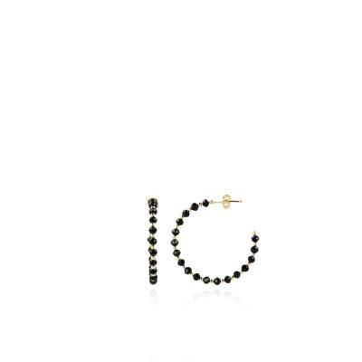 LOTT. gioielli 925 Sterling Zilveren Zwarte Oorbellen CLEA011-G41628