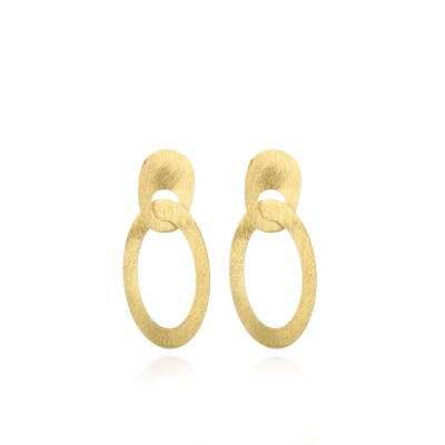 LOTT. gioielli 925 Sterling Zilveren Goudkleurige Oorbellen CLEA047-B41795