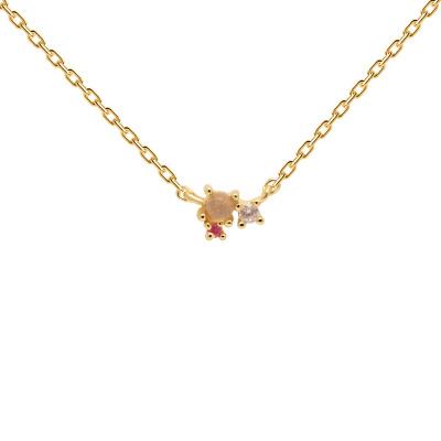 P D Paola 925 Sterling Zilveren Goudkleurige Atelier Rosé Blush Ketting CO01-175-U