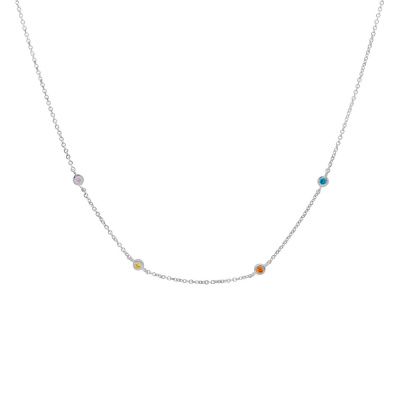 ANNA + NINA 925 Sterling Zilveren Surreal World Confetti Ketting 20-1M903010S (Lengte: 42.00 cm)