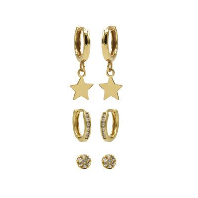 Karma 925 Sterling Zilveren Earparty Goudkleurige Hoops and Disc Oorbellen