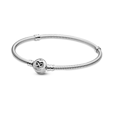 Pandora Passions 925 Sterling Zilveren Heart Infinity Clasp Snake Chain Armband 599365C00 (Lengte: 17.00 - 20.00 cm)