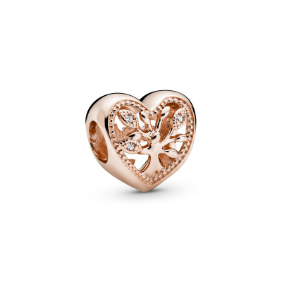 Pandora Moments 925 Sterling Zilveren Roségoudkleurige Family Tree Heart Bedel 788826C01