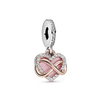 Pandora Moments 925 Sterling Zilveren Roségoudkleurige Infinity Heart Bedel 788878C01