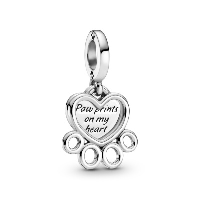 Pandora Passions 925 Sterling Zilveren Hearts & Paw Print Dangle Bedel 799360C00