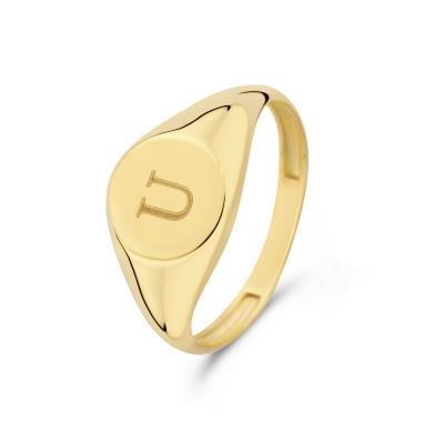 Isabel Bernard Le Marais Lauren 14 Karaat Gouden Initial Ring IB330034U (Letter: U)