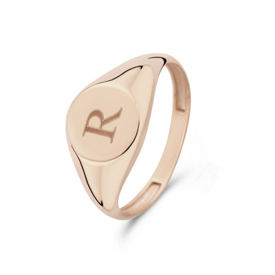 Isabel Bernard La Concorde Lauren 14 Karaat Rosé Gouden Initial Ring IB330036R (Letter: R)