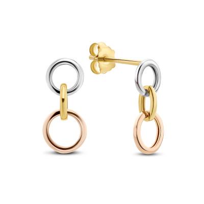 Isabel Bernard Tricolore Maeva 14 Karaat Gouden Oorhangers Met Drie Kleuren Goud IB360096