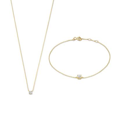 Cadeau d'Isabel 14 karaat gouden collier en armband giftset