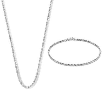 Isabel Bernard Cadeau d'Isabel 14 karaat witgouden collier en armband giftset IB90035
