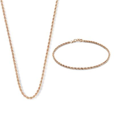 Cadeau d'Isabel 14 karaat rosé gouden collier en armband giftset
