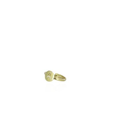 LOTT. gioielli 925 Sterling Zilveren Goudkleurige Initial ring INRIA-G69500 Letter A-Z