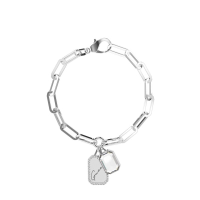 Guess Crystal Tag Zilverkleurige Armband JUBB01134JWRHS