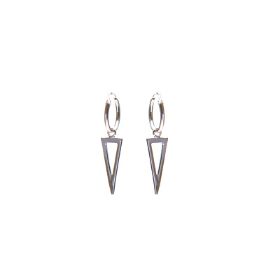 Karma 925 Sterling Zilveren Hoops Symbols Open Long Triangle Oorknoppen M1425
