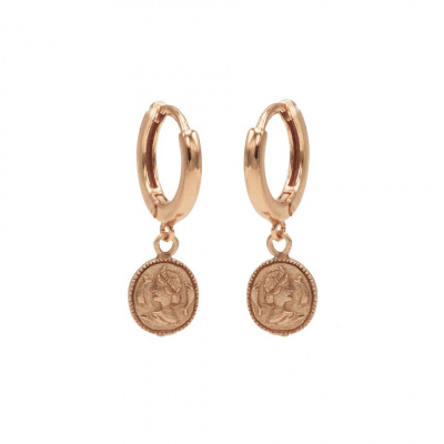 Karma 925 Sterling Zilveren Hinge Hoops Roségoudkleurige Coin Oorbellen M1968HIN