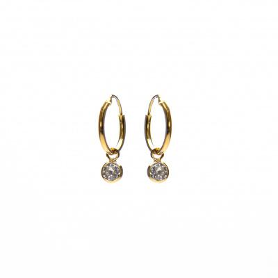 Karma 925 Sterling Zilveren Hoops Symbols Goudkleurige Dots Oorbellen M2170