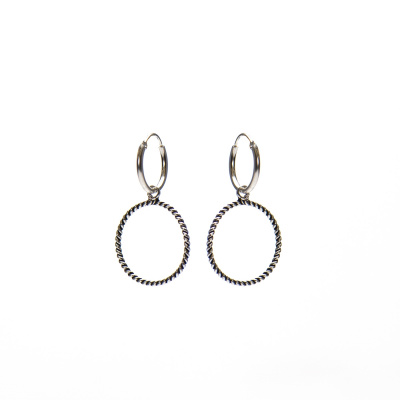 Karma 925 Sterling Zilveren Hoops Symbols Open Cicle twisted Oorknoppen M2192