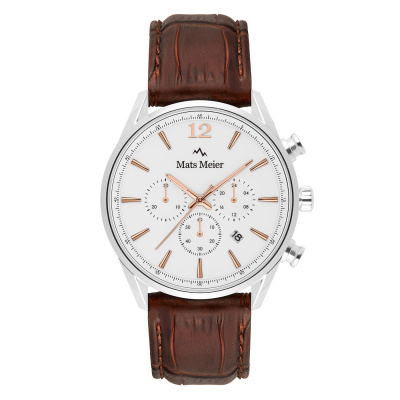 Mats Meier Grand Cornier Chrono Wit/Bruin horloge MM00105